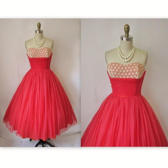 1950's Strapless Red Chiffon Shelf Bust Prom Wedding Party Dress XS S