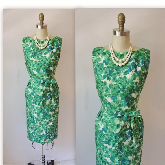 Vintage 1950's Dress Green Silk Floral Print Cocktail Party Mad Men Wiggle Dress