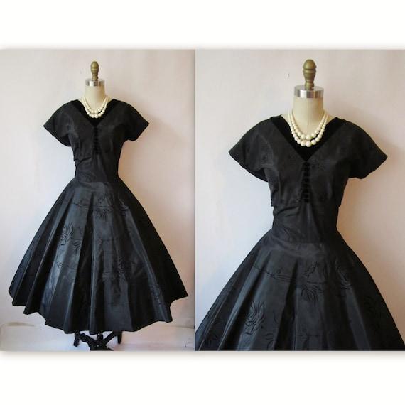 50's Flocked Dress // Vintage1950's Black Flocked Taffeta Full Cocktail Party Dress M L