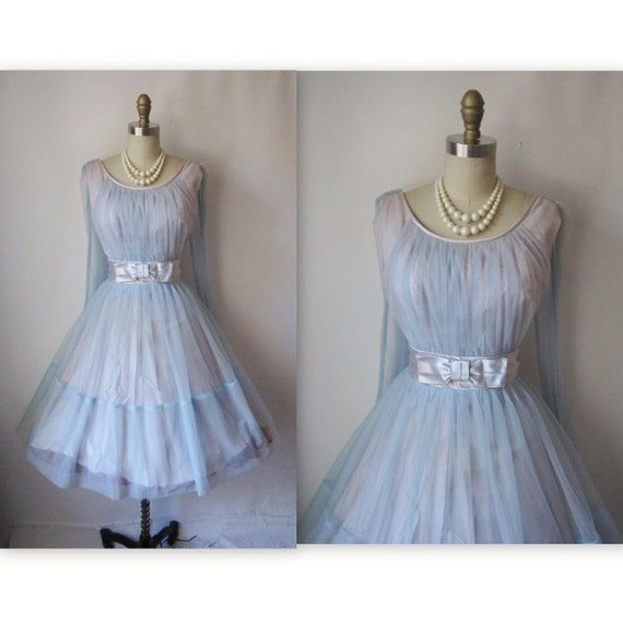 50's Prom Dress // Vintage 1950's Ruched Blue Chiffon Prom Wedding Party Dress M