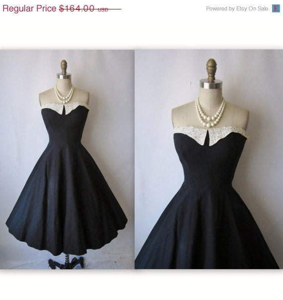 STOREWIDE SALE 50's Strapless Dress // Vintage 1950's Strapless Black Cotton New Look Full Cocktail Party Dress XS S
