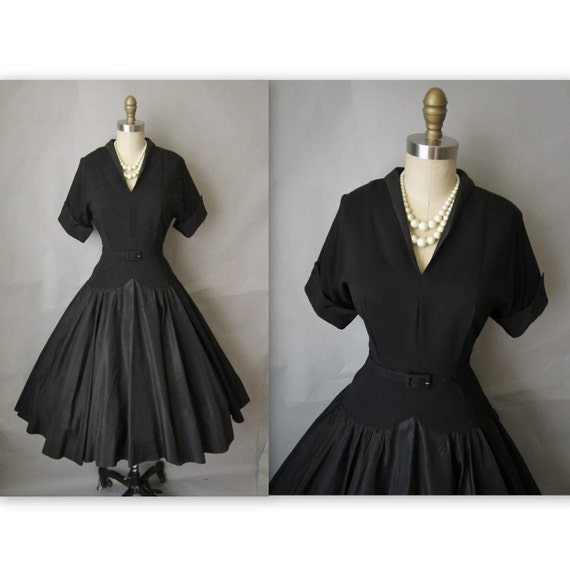 50's Cocktail Dress // Vintage 1950's Black Taffeta New Look Cocktail Party Full Dress S