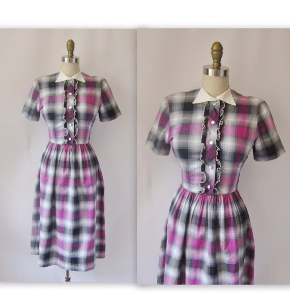 1940's Tuxedo Plaid Cotton Garden Party Picnic Dress S