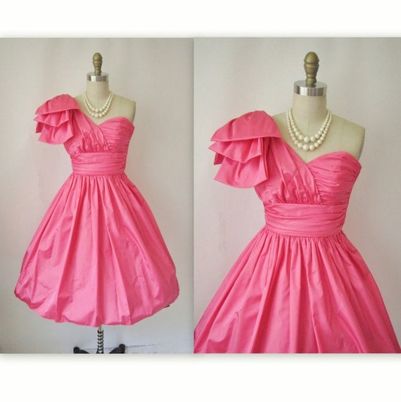 Vintage 1980 S Party Dress Lace Tulle Skirt Drop Waist: Vintage Prom Dress // 1980's One Shoulder Hot Pink Taffeta