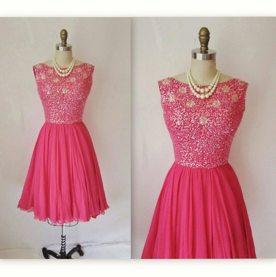 50&-39-s Chiffon Dress // Vintage 1950&-39-s Hot Pink by TheVintageStudio