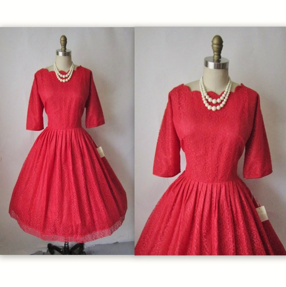 50's Cocktail Dress // Vintage 1950's Red Lace Full Cocktail Party Holiday Dress NOS Deadstock Tags XL
