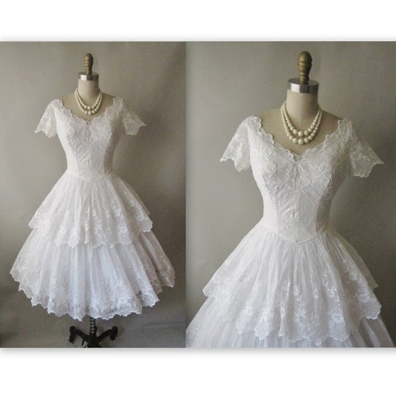 50 39 s wedding dress vintage 1950 39 s eyelet by for White cotton eyelet wedding dress