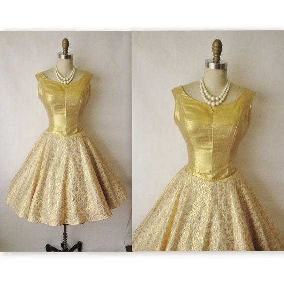 50's Cocktail Dress // Vintage 1950's Gold Lurex Lace Full Cocktail Party Circle Dress S