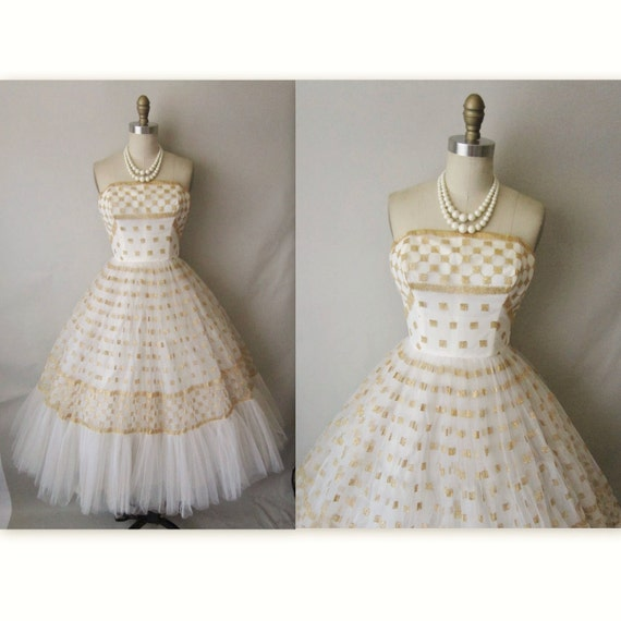 50's Wedding Dress // Vintage 1950's Strapless White Gold Tulle Wedding Dress Gown XS