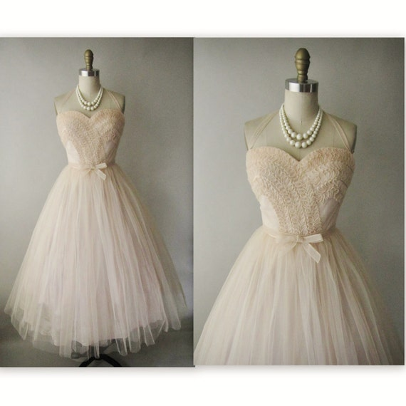 50's Tulle Dress // Vintage 1950's Blush Tulle