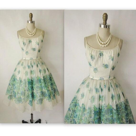 Floral Print Chiffon Dress // Vintage 1950's Floral Chiffon Full Cocktail Party Wedding Prom Dress XS