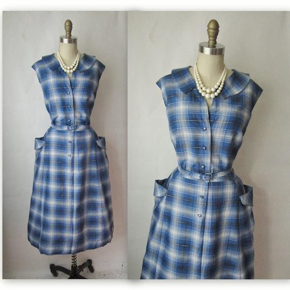 50's Day Dress // Vintage 1950's Plaid Cotton Casual Shirtwaist Day Dress XL XXL