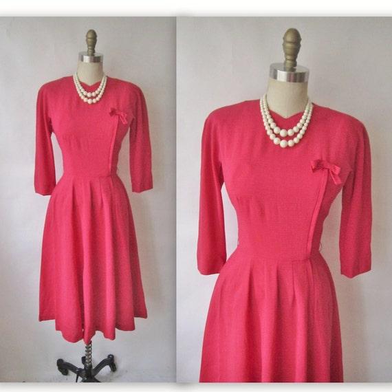 50's Swing Dress // Vintage 1950's Pink Chiffon Full Cocktail Party Secretary Dress XS