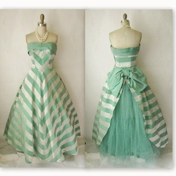 50's Wedding Dress // Vintage 1950's Striped Damask