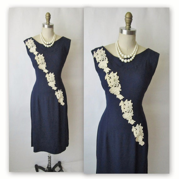 50's Applique Sheath Dress // Vintage 1950's Navy Linen Applique Garden Party Mad Men Sheath Dress M L