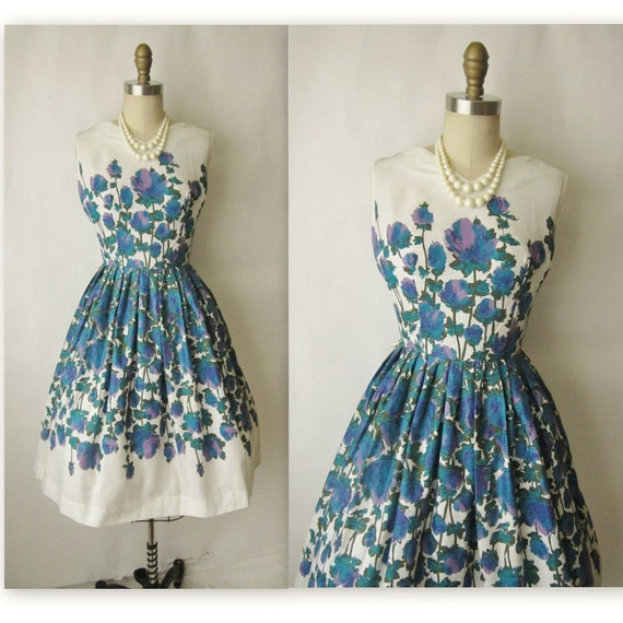 Reserved for Tavri 50's Floral Print  Dress // Vintage 1950's Floral Print Garden Party Mad Men Day Dress S