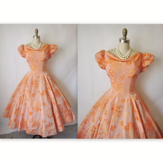 50's Flocked Dress // Vintage 1950's Flocked Taffeta Ombre Prom Wedding Party Dress M