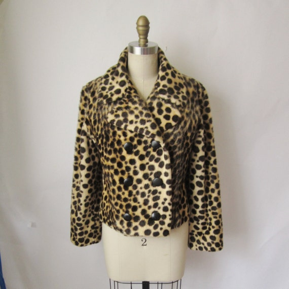 60's Faux Fur Leopard Print Jacket // Vintage 1950's Glam Spotted Cat Jacket Pea Coat Safari M L