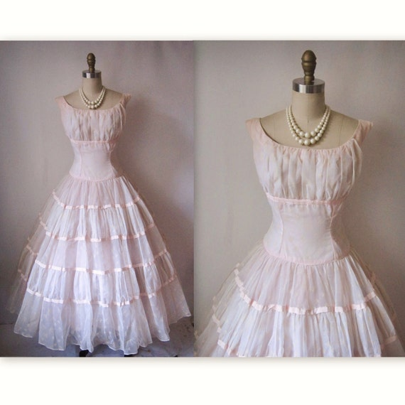 50's Flocked Dress // Vintage 1950's Flocked Chiffon Pink Shelf Bust Prom Wedding Party Dress S