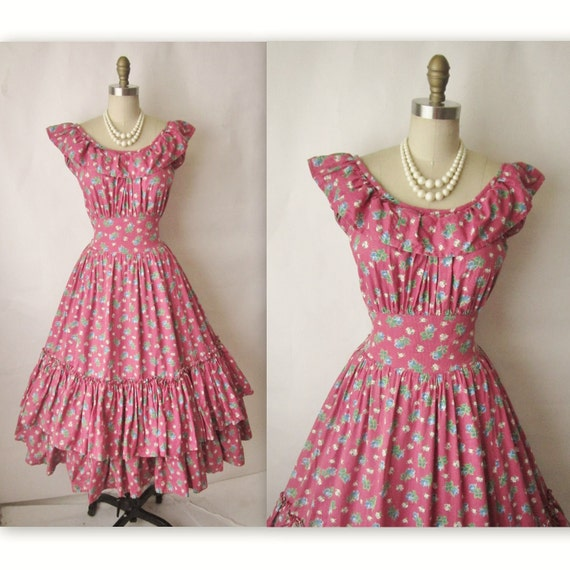 Reserved for Lily 40's Floral Dress // Vintage 1950's Floral Print Cotton Country Ruffle Garden Party Dress L