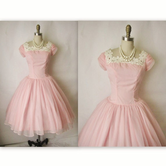 Reserved for Dee 50's Prom Dress // Vintage 1950's Pink Chiffon Lace Wedding Party Prom Dress XS