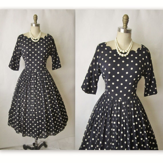 50's Cocktail Dress // Vintage 1950's Navy Polka Dot Rayon Full Cocktail Party Dress M L