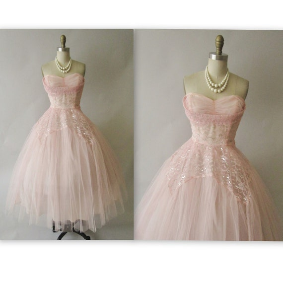 50's Prom Dress //  Vintage 1950's Strapless Pink Silver Lace Tulle Prom Wedding Dress S