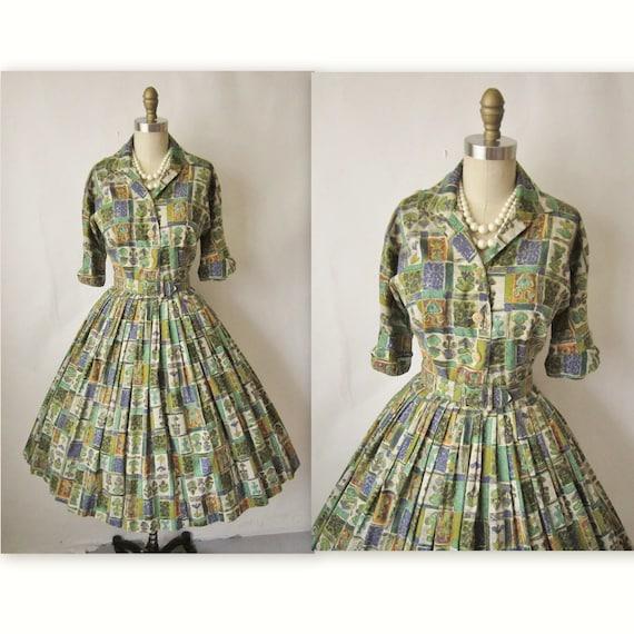 50's Shirtwaist Dress // Vintage 1950's Printed Cotton Garden Party Shirtwaist Dress S