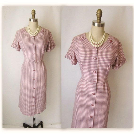 50's Shirtwaist Dress // Vintage 1950's Houndstooth Shirtwaist Casual Day Dress L