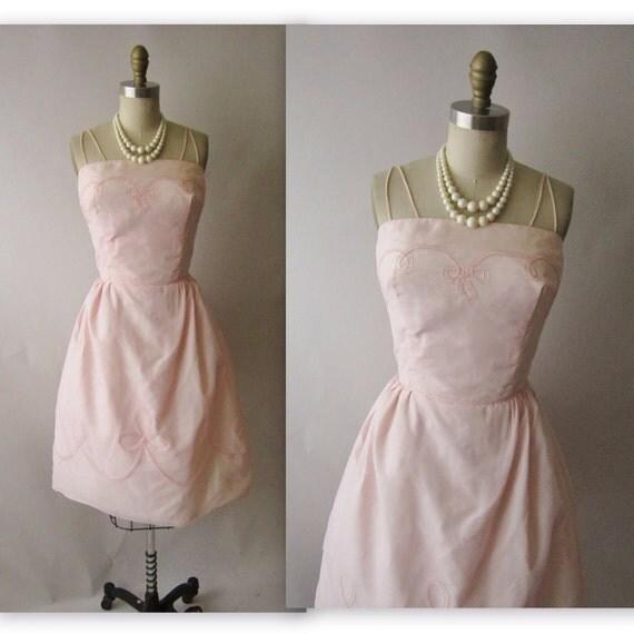 50's Chiffon Dress // Vintage 1950's Pink Chiffon Wedding Party Prom Dress Gown L
