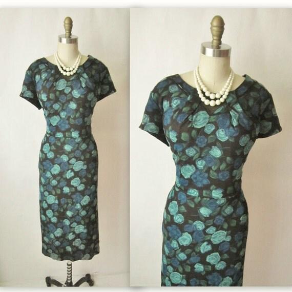 50's Floral Dress // Vintage 1950's Floral Print Cocktail Party Wiggle Sheath Dress XL Plus