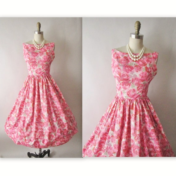 50's Floral Print Dress // Vintage 1950's Floral Print Garden Party Mad Men Summer Dress XS