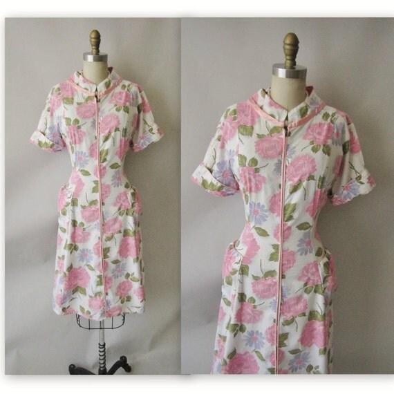 50's Floral Print Dress // Vintage 1950's Floral Print Garden Party Mad Men House Dress L