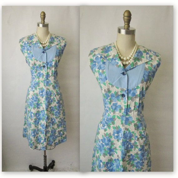40's Floral Dress // Vintage 1940's Blue Floral Print Cotton Shirtwaist Casual House Dress M