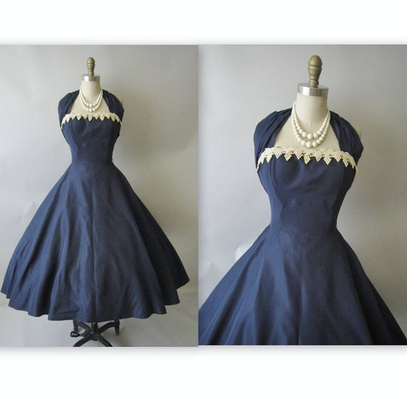 50's Halter Dress // Vintage 1950's Navy Taffeta Halter Bombshell Cocktail Party Circle New Look Dress S M