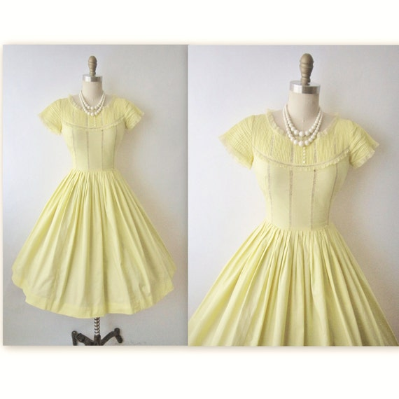 50's Summer Dress // Vintage 1950's Canary Yellow Pintuck Cotton Garden Party Mad Men Day Dress XS