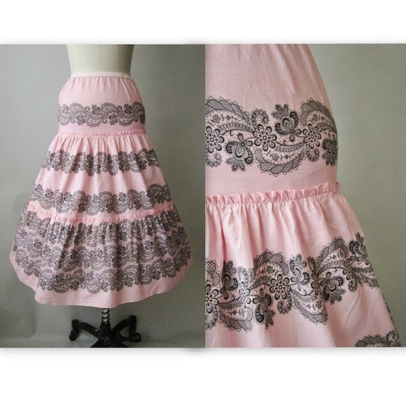 50's Lace Print Skirt Slip //  Vintage 1950's Pink Lace Print Cotton Tiered Slip Skirt XS S