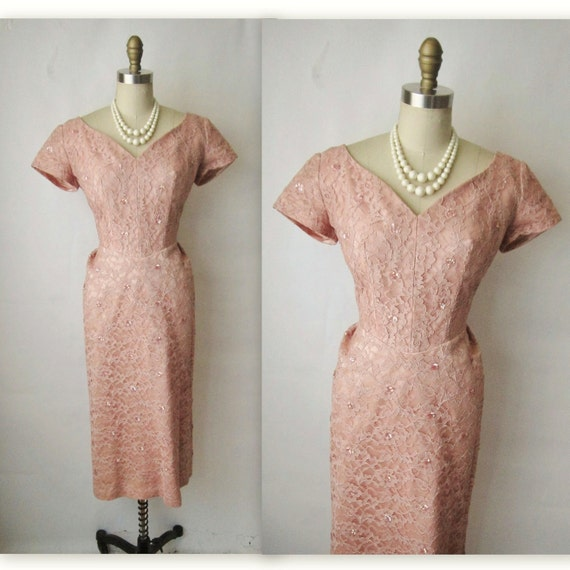 50's Wiggle Dress // Vintage 1950's Pink Lace Cocktail Party Sequin Wiggle Dress S M
