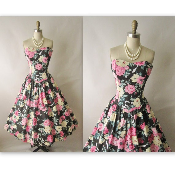 Strapless Floral Dress // 80s 50s Rose Print Cotton Garden Party Full Summer Sun Dress XS S