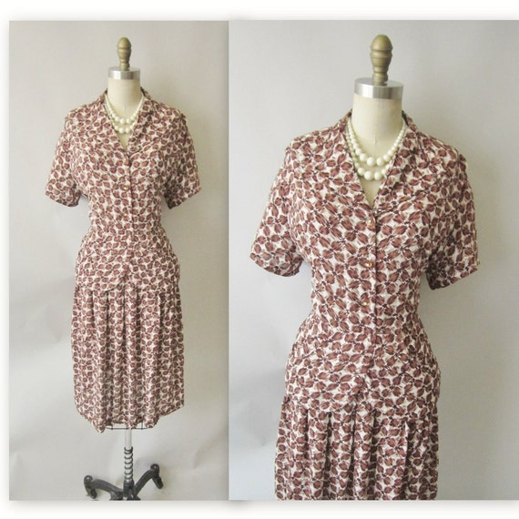 40's Abstract Print Dress // Vintage 1940's Printed Rayon Cocktail Party Peplum Dress XL