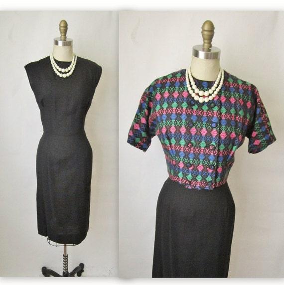 50's Wiggle Dress Set // Vintage 1950's Black Hourglass Cocktail Party Secretary Wiggle Dress Jacket Ensemble M