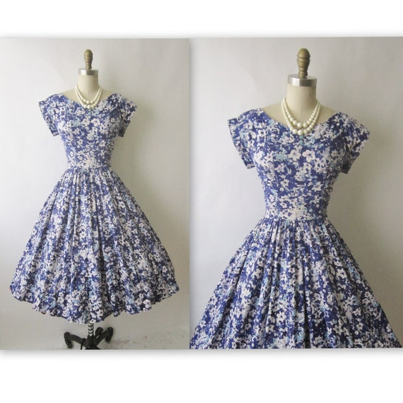 50's Garden Party Dress // Vintage 1950's Floral Print Garden Party Mad Men Summer Day Dress M