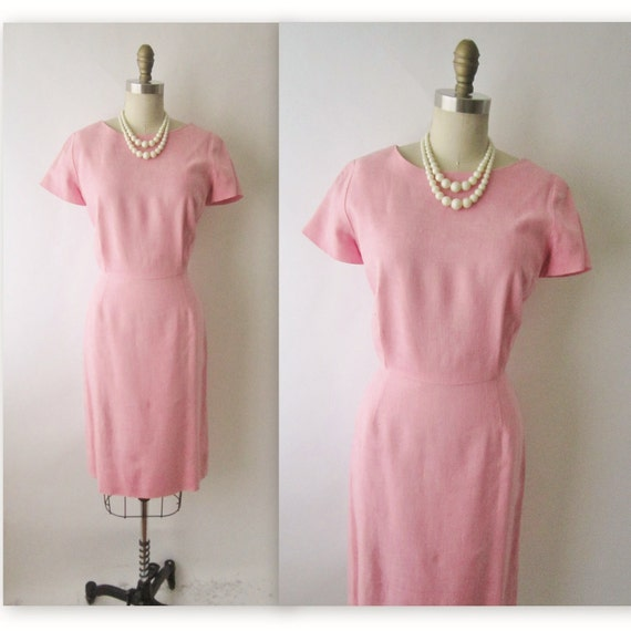 50's Linen Wiggle Dress // Vintage 1950's Pink Linen Fitted Garden Party Sheath Dress S