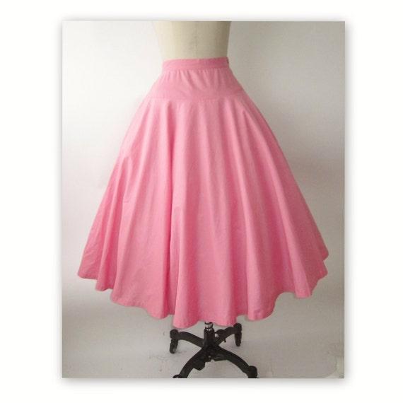 50's Circle Skirt //  Vintage 1950's Bubblegum Pink Cotton Full Garden Party Skirt XS