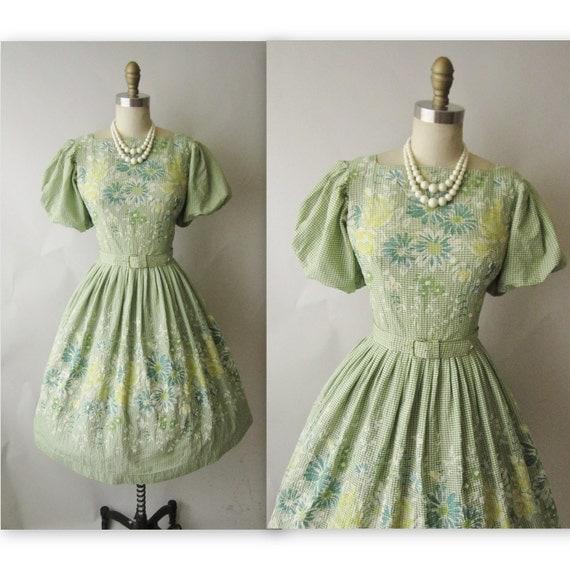 50's Flocked Gingham Dress // Vintage 1950's Flocked Floral Gingham Cotton Garden Party Dress S