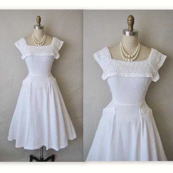 50's Cotton Dress // Vintage 1950's White Pique Cotton Lace Wedding Dress XS