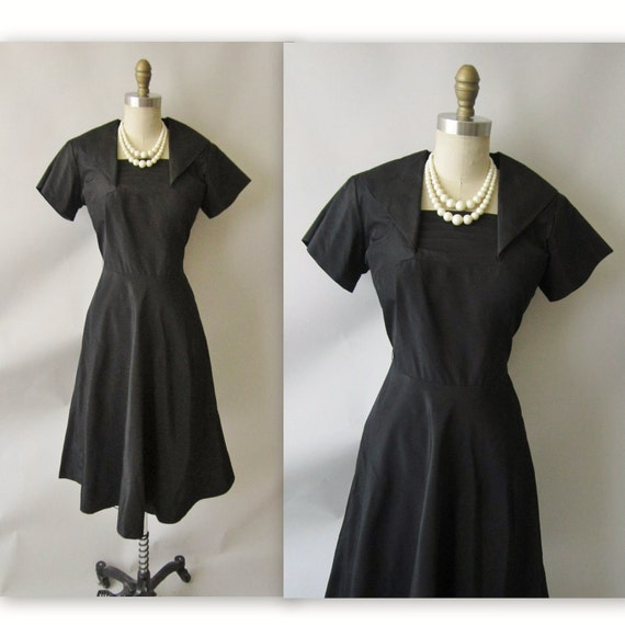 50's BlackTaffeta Dress // Vintage 1950's Black Taffeta Cocktail Party Swing Dress L