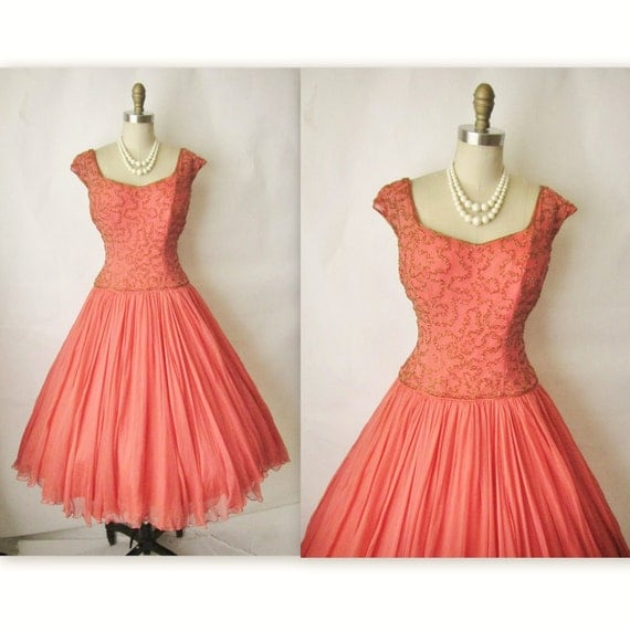 50's Beaded Chiffon Dress // Vintage 1950's Couture Beaded Salmon Chiffon Full Cocktail Party Dress S M