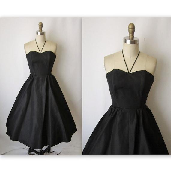 50's Taffeta Dress // Vintage 1950's Strapless Black Taffeta Cocktail Party Halter Dress XS S