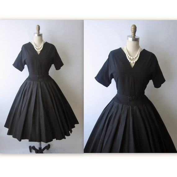 50's Cocktail Dress // Vintage 1950's Black Taffeta New Look Cocktail Party Full Dress M L